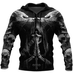 Viking Skull All Over Printed Pullover Casual Hoodie #hoodies #skullhoodie #skullclothing Skull Hoodie, Skull Shirts, Winter Hoodies, Gothic Outfits, Girls Sweaters, Mens Sweatshirts, Fashion Prints, Crane, Harajuku
