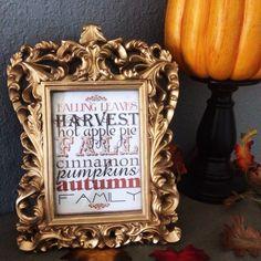 Framed fall print on the mantel - Fall 2014
