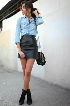 A light blue denim shirt and a black leather mini skirt are absolute must-haves that will integrate really well within your day-to-day outfit choices. A chic pair of black suede ankle boots is an easy way to add a dose of sophistication to your getup. Edgy Outfits, Mode Outfits, Outfits For Teens, Fashion Outfits, Fashion Boots, Fashion Clothes, Denim Fashion, Leather Fashion, Blue Denim Shirt