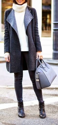Grey Blanket Coat , White Turtle Neck Sweater and Skinnies