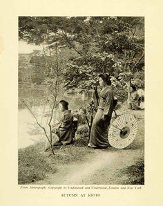 1912 Print Japan Kyoto Autumn Parasol Kyowagasa Kimono Garden Women Trees XGK3 - Period Paper