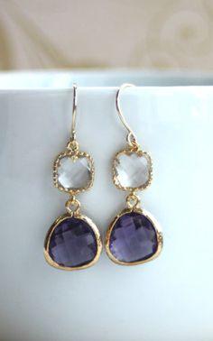 Gold dark purple and clear glass drop earrings