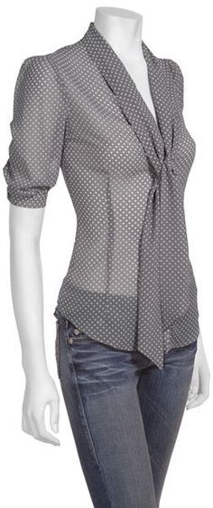 tie-neck blouse -- I could wear a cami under this blouse with white slacks and make it a great work outfit Mode Outfits, Casual Outfits, Skirt Outfits, Fashion Outfits, Dress Casual, Skirt Fashion, Fashion Shoes, Mode Style, Style Me