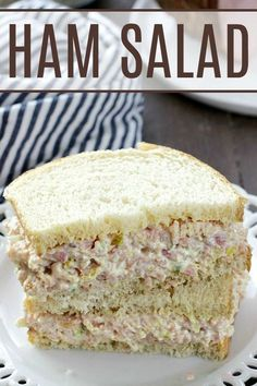 My family LOVED this ham salad! A great way to use leftover ham! My family LOVED this ham salad! A great way to use leftover ham! Ham Salad Recipes, Pork Recipes, Cooking Recipes, Recipes With Ham, Recipes With Leftover Ham, Dinner Recipes, Ham Sandwich Recipes, Cooking Pasta, Easter Leftovers Recipes