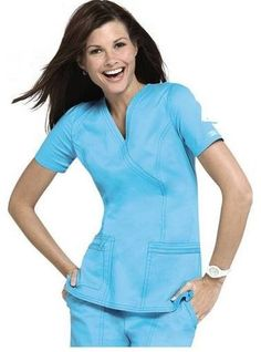 Special Offers Available Click Image Above: Cherokee Workwear Stretch Mock-wrap Scrub Top. Scrubs Uniform, Nurse Scrubs, Core Stretches, Medical Uniforms, Moda Chic, Scrub Tops, Cherokee, Work Wear, Peplum Dress