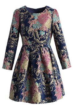Retro Loveliness Floral Intarsia Dress - New Arrivals - Retro, Indie and Unique Fashion