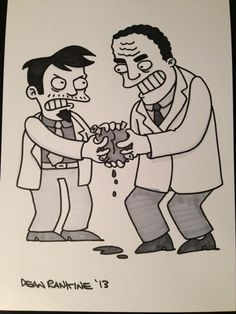 Dr Nick vs Dr Hibbert by Dean Rankine Comic Art Found Art, The Simpsons, Cartoon Styles, Dean, Comic Art, Disney Characters, Fictional Characters, Snow White, Art Gallery