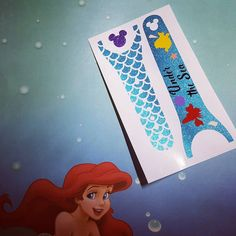 One of the new designs for Ariel!  #princesses #magicbanddecals #magicband2 #disneyinspired #disneyprincesses #ariel #thelittlemermaid #underthesea #sebastian #flounder #glittervinyl #etsy #linkinbio