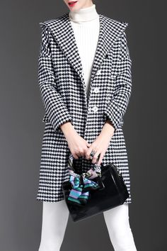 Lorcharea White/black Houndstooth Hooded Wool Blend Coat | Coats at DEZZAL