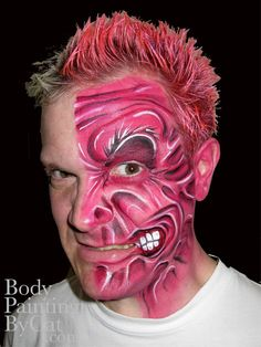 Two Face batman face paint by ~Bodypaintingbycatdot on deviantART