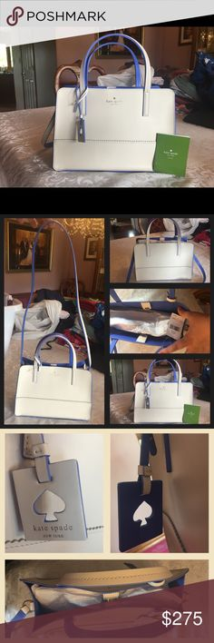 """Kate Spade Freeman Street Ilise Handbag NWT Kate Spade Freeman Street """"Ilise"""" NEW Just debuted in March 2017   Details: 100% Leather Color is Cement/Blue Gold toned hardware One interior slip pocket Approximate Measurements 7.5"""" (H) x 11"""" (W) x 5"""" (D) Double handle straps approximately a 4"""" drop Shoulder strap approximate 20"""" drop Kate Spade cut out hang tag  Decorative scalloped stitching Retails for $299. MAKE OFFER Kate Spade New York Bags Satchels"""