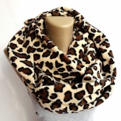 winter scarf ,beige and brown leopard print scarf ,infinity scarves ,winter fashion accessories ,eternity . chunky scarf
