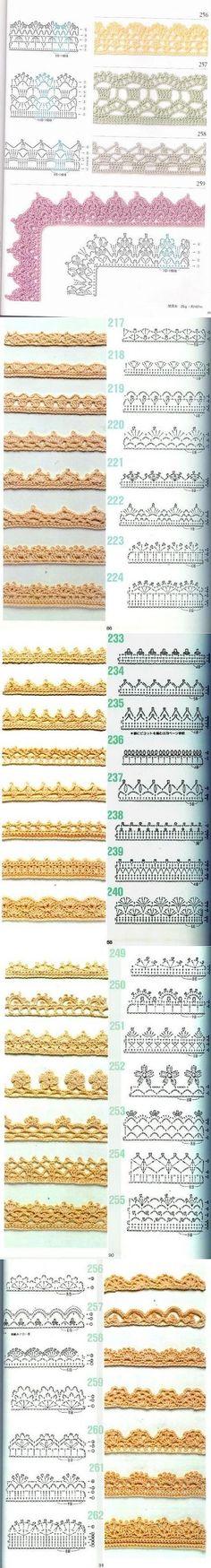 Various crochet border/edging free diagrams.