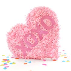 Valentine Pinata. Candy heart shaped pinata with Valentine message. Choose your favorite color. Includes paper blindfold and made to order for Valentines.