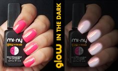 GLOW IN THE DARK  Semi permanent UV lacquer that light in the dark. This hybrid semi permanent UV lacquer surprising for its dual functionality: colored and shiny nails at the light of the day and light effect on your nails in the dark for a result very glamour even at night! http://www.minyshop.com/it/165-glow-in-the-dark
