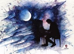 Dan Howell and the piano #02 - Moonlight Sonata ~ danisnotonfire - watercolour painting by szluu.tumblr.com