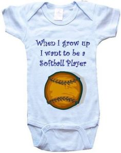 Amazon.com: WHEN I GROW UP I WANT TO BE A SOFTBALL PLAYER - BigBoyMusic Baby Designs - White, Blue or Pink Onesuit / Baby T-shirt: Clothing