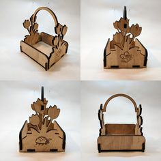 """Képtalálat a következőre: """"wooden floral basket"""" Laser Cutter Projects, Laser Cutter Ideas, Flower Basket, Flower Boxes, Laser Cut Wood, Laser Cutting, Dry Leaf Art, Snow Flakes Diy, Wooden Wall Decor"""