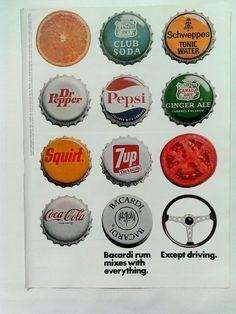 Vintage Print Ad 1973 Bacardi Rum Bottle Caps Squirt Pepsi Dr Pepper 414 | eBay