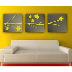 Do in black with white and buds/blossoms in accent color on grey walls.
