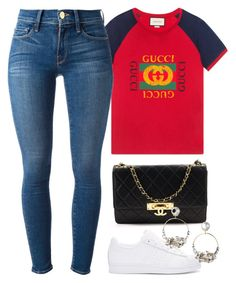 """"""""""" by hosana-317 ❤ liked on Polyvore featuring Gucci, Frame, adidas Originals and Chanel"""