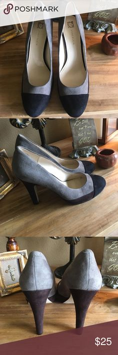 Anne Klein Grey, Black,and Brown Suede Shoes The perfect shoe to compliment your winter wardrobe. The heel stands a comfortable 5'feet. This shoe is in great condition with  signs of peeling on the leather insole. Anne Klein Shoes Heels