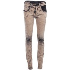 HIGH 'Gun' distressed bleach-wash skinny jeans ($185) ❤ liked on Polyvore featuring jeans, pants, bottoms, calças, women, ripped jeans, distressed jeans, metal jeans, bleached jeans and destroyed denim skinny jeans