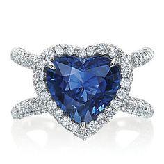 J.B. Star Platinum Heart Shape Sapphire and Diamond Ring from Borsheims