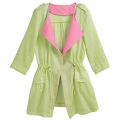 Ladies Pretty Plus Size Three Quarter Sleeve Trench Coat Green (52 BAM) ❤ liked on Polyvore featuring green