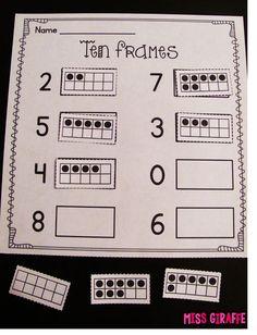 Ten Frame Practice: Worksheets and Games   Ten frames, Number ...