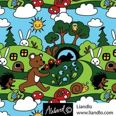 Björnen sover, Fabric design for www.liandlo.com  Jersey
