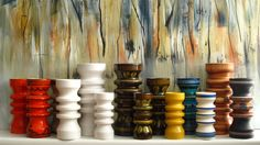 My Collection of vases of The Flora Gouda Fabric, Holland, seventies.