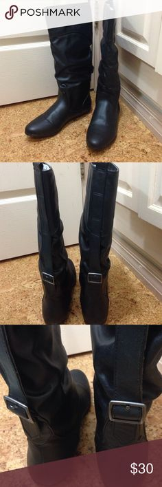 """🍁F A L L 🍁🍂SLOUCH BOOTS🍂 Faux leather like new with a very small 1/2"""" heel. 🚫CANNOT BE BUNDLED🚫 Shoes Heeled Boots"""