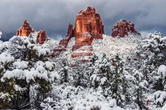 https://flic.kr/p/RHF1u6 | Snow Coated Cibola Mitten | The Cibola Mitten (center) is a cool formation found right outside of the town of Sedona in the Red Rock-Secret Mountain Wilderness. I shot this on Christmas morning after a quick snowstorm blew through the area.