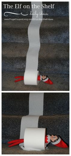 Elf rolls down the stairs. Dozens of Easy and Creative The Elf on the Shelf Ideas found on Frugal Coupon Living.