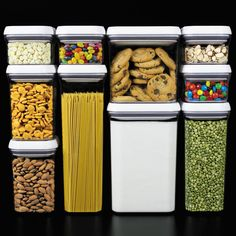 These OXO POP containers are by far the best storage containers I've ever used. They seal airtight with the press of a button, and the tops completely disassemble for easy cleaning. Leaps and bounds better than any other container I've had. Storage Sets, Pantry Storage, Pantry Organization, Organizing Ideas, Modular Storage, Kitchen Organizers, Refrigerator Organization, Cabinet Storage, Closet Storage