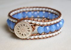 Beaded+leather+cuff+bracelet+Sky+Blue+Opal+by+OlenaDesigns+on+Etsy,+$60.00