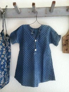 19th C Early Child's Blue White Calico Dress | eBay