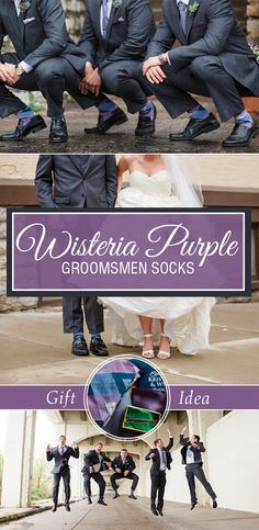 Purple groomsmen socks are a great way to coordinate a wedding party. Not only are socks the perfect gift for groomsmen, but they provide just the right amount of accent color to match the bridesmaids. Shop these Wisteria Purple socks and other great purple socks. Photography by http://leahbarryphotography.com/