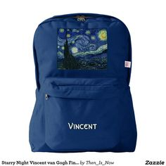 Starry Night Vincent van Gogh Fine Art Painting Backpack