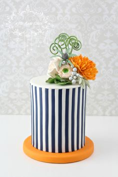 Stripes and blossoms  cake by Little Apple Cakes