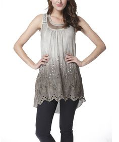 Look at this #zulilyfind! Khaki Floral Layered Sleeveless Tunic by Simply Couture #zulilyfinds