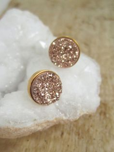 Romantic Rose Gold Druzy Earrings Titanium Drusy Quartz Studs Gold Vermeil Bezel Set