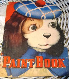 1950s Paint Book With Puppy On the Cover, Shaped Edge, From Whitman