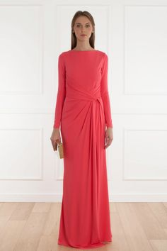 Jersey Dress By ELIE SAAB long sleeves coral