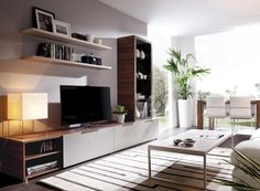 Contemporary Crea Rimobel TV Unit, Display Cabinet and Sideboard Composition - Contemporary wood or matt wall storage system with TV unit, sideboard and display cabinet
