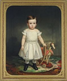 American School, 19th Century  Portrait of a child with a hoop and a toy horse