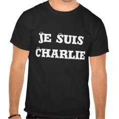 Je Suis Charlie Men's Tee Shirt White on Black with Watching Eyes font!