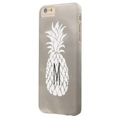 #trendy - #monogram white pineapple on silver texture barely there iPhone 6 plus case