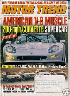 Motor Trend Car Magazine June 1998 Corvette Firebird Trans Am Muscle